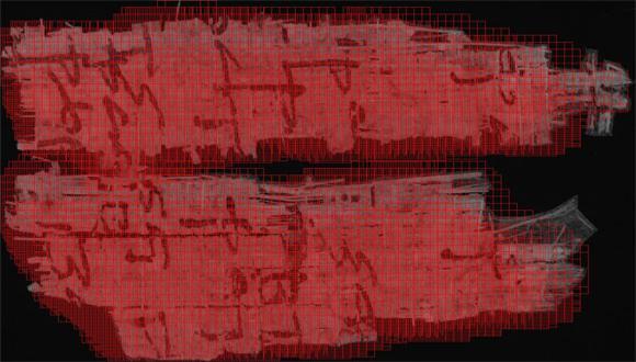 """קטע פפירוס בכתב סתרים ממגילות מדבר יהודה (קומראן, מאה 1 לפנה""""ס), שנסרק במחשב וחולק למטריצה לצורך קיבוץ (clustering) של אותיות. המחקר מנוהל על ידי פרופ' יונתן בן-דב  ופרופ' נחום דרשוביץ מאונ' תל אביב ונתמך על ידי הקרן הלאומית למדע."""